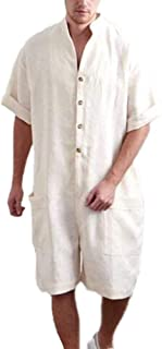Men's Cotton and Linen Dungarees Super Baggy Short Jumpsuit Overalls Onesies Rompers with Pockets