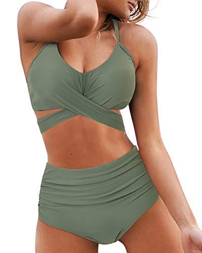 OMKAGI Womens High Waisted Bikini Bottom Halter Top Push Up Two Piece Swimsuits(S,87-Army Green)
