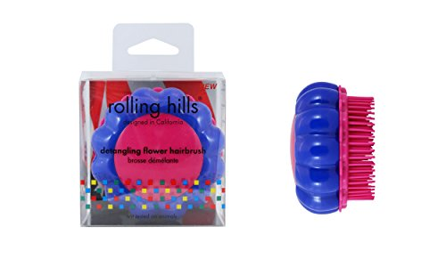 ROLLING HILLS - Detangling Flower Brush Dark Blue-Pink