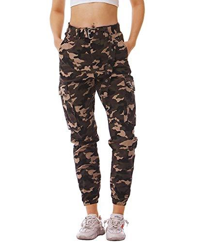 Idgreatim Damesbroek, camouflage cargobroek, casual, katoen, joggingbroek, sportbroek, militaire vrijetijdsbroek met riem