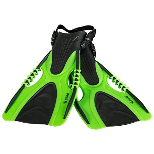PiNAO Sports - Verstellbare Taucherflossen für Jugendliche, Größe S - L,[Schwimmflossen, Schnorchelflossen, Freizeitschnorchler, Hobbyschnorchler, Schnorcheln, Gr. 37-44] (neon grün, M -L)
