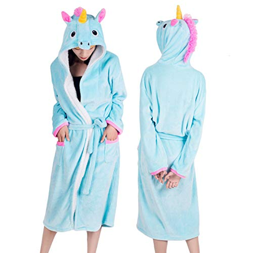 GANHUI Winter Coral Velvet Hooded Einhorn Robe Frauen Flanell Dressing Kleid Panda...