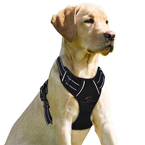 No Pull Dog Harness Front Clip Heavy Duty Reflective Easy Control Handle for Large Dog Walking(Black,S)
