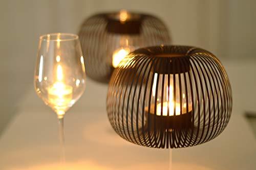 Windlichter für Weingläser mit Teelicht, Lampenschirm für Tischleuchte, 2er Set Schwarz, MADAME O