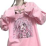 Vocha Ropa Kawaii Camiseta Y2k Clothes Japonés Anime t-Shirt Material Escolar Verano Linda Camiseta Aesthetic Harajuku Ulzzang Gótica t-Shirt (Pink,S,S)