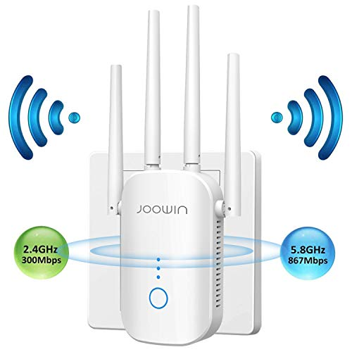JOOWIN WLAN Repeater 1200Mbps WLAN Verstärker Dual-WLAN AC + N 867MBit/s 5,8GHz + 300 MBit/s 2,4GHz WiFi Extender Signalverstärker WLAN Mesh Repeater mit Gigabit LAN Port WiFi Repeater AP Router Modus
