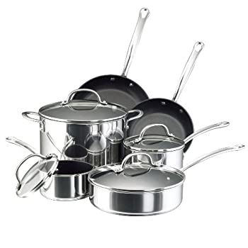 Farberware Millennium Stainless Steel Nonstick Cookware Set 10-Piece Pot and Pan Set Stainless Steel