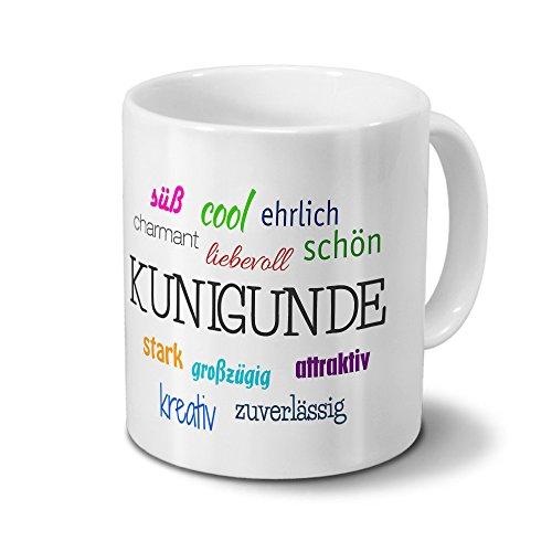 printplanet Tasse mit Namen Kunigunde - Motiv Positive Eigenschaften - Namenstasse, Kaffeebecher, Mug, Becher, Kaffeetasse - Farbe Weiß