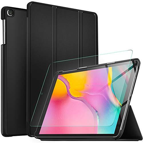 IVSO Protector de Pantalla con Funda para Samsung Galaxy Tab A T510/T515 10.1 2019, Slim PU Protectora Carcasa Cover para Samsung Galaxy Tab A 10.1 T510/T515 2019, Negro + 1 Pack