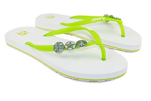 COVY'S jandals Green Tea/White #5114 Women (Zehentrenner, Sandale, DIY, Pins)