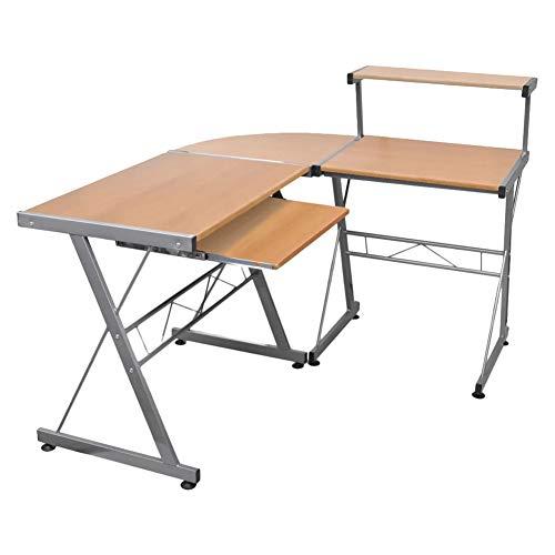Mesa de ordenador con mesa de esquina y ordenador práctica, mesa de oficina en casa, estilo industrial, oficina, oficina, estación de trabajo, PC de madera y acero estable, marrón, 139 x 115 x 100 cm