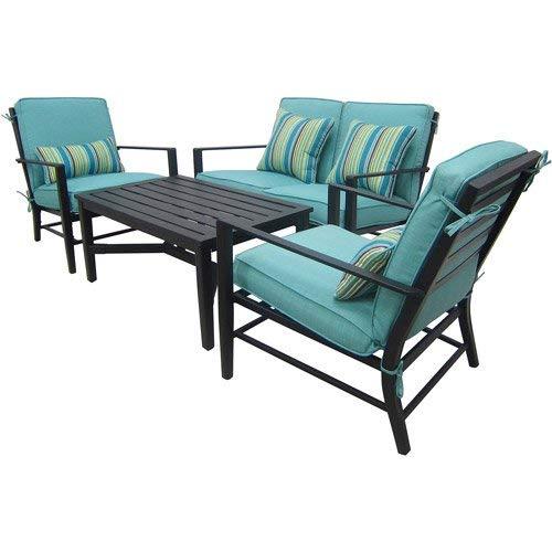 Mainstays Rockview 4 Piece Patio Conversation Set, Seats 4