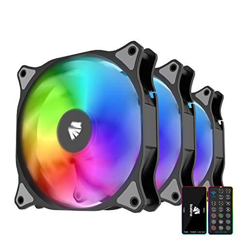 AsiaHorse WD-001 - Placa base (120 mm, 5 V, ARGB, 12 ledes, 9 cuchillas, carcasa blanca hidráulica, ventilador de radiador, 3 unidades), color negro