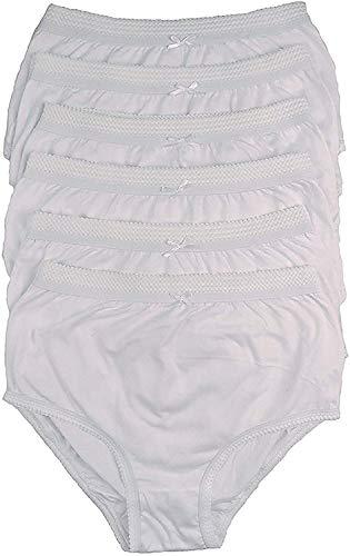 COTTONIQUE Ladies 6 Pairs of Full Cotton Briefs in Choice of Colours 36-54  Plus Sizes (48-50  (20-22), White)