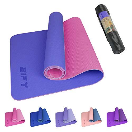 BIFY Yogamatte rutschfeste Gymnastikmatte Premium Umweltfreundliche Trainings-Fitnessmatte für Pilates Fitness mit Schultergurt, Größe: 183 x 61 x 0,6cm