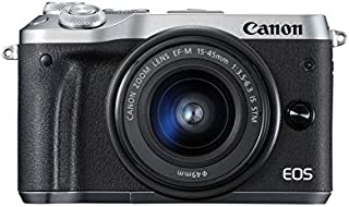 Canon EOS M6 - Cámara Evil de 24.2 MP (Pantalla táctil de 3.0 DIGIC 7 NFC Dual Pixel CMOS AF Bluetooth 5 - Axis Digital IS Full HD WiFi) Plata - Kit Cuerpo con Objetivo EF-M 15-45