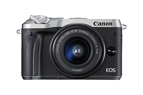 Canon EOS M6 Systemkamera (24,2 MP, 7,62cm (3 Zoll) Full HD, APS-CCMOS-Sensor, DIGIC 7 Bildprozessor, Kit inkl. EF-M 15-45mm 1:3,5 -6, 3 IS STM Objektiv) silber