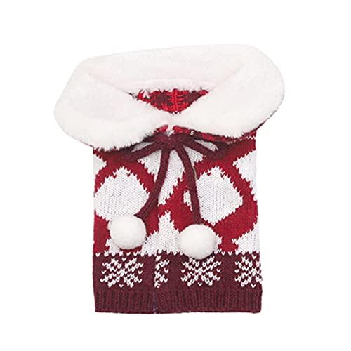 Rutaqian Collar de suéter de Navidad botella de vino cubierta de tela de punto botella de vino bolsa de vino botella de vino vestido para decoración de fiesta de Navidad rojo