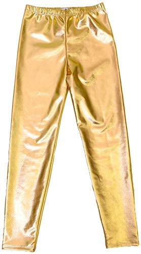 DFギャラリー レギンス ヒップホップ衣装 子供服 ダンスパンツ メタリック ロング丈 T94251 M(120cm) ゴールド(GD)