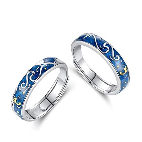 Youngy Anéis modernos, 2 peças de veado céu estrelado anel para casal azul noite estrelada anéis ajustáveis para amante