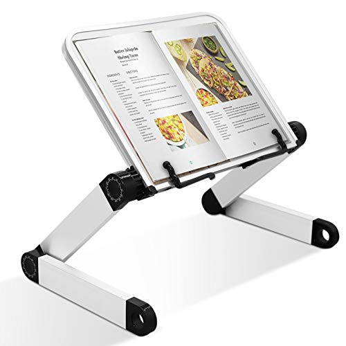 Book Reading Stand Hands Free Adjustable Height Angle Portable Ergonomic Book Holder with Page Paper Clips for Big Heavy Textbooks Music Books Tablet Cook Recipe Lightweight Aluminum Legs Collapsible