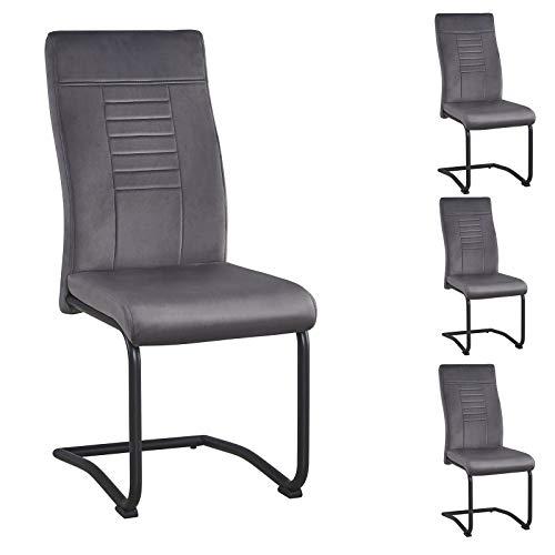 CARO-Möbel Esszimmerstuhl Bayonne im 4 er Set, Freischwinger mit Samtbezug in grau, praktisches Küchenstuhl Set