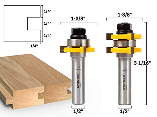 Yonico 15228 3/4-Inch 2 Bit Tongue and Groove Router Bit Set 1/2-Inch Shank