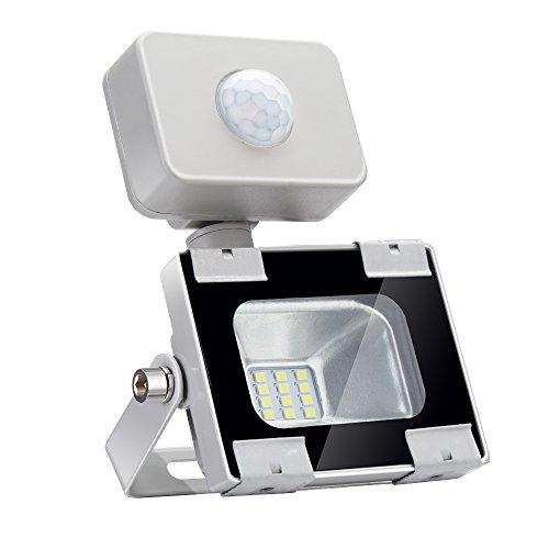 Focos LED Exterior 10W Floodlight con Sensor de Movimiento 800lm Luz de Seguridad, Impermeable IP65 6500K Blanco frío, Proyector LED para Patio Garaje Cartelera Taller[clase energética A+]