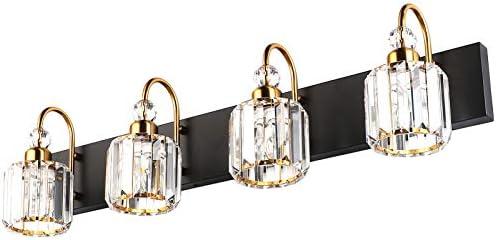 Ralbay LED Modern Vanity Lights Fixtures 4 Lights Black Vanity Lights Crystal Modern Matte Black product image
