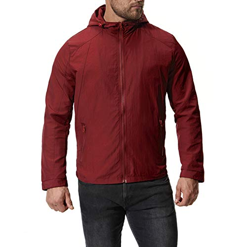 Mr.BaoLong&Miss.GO Autumn and Winter Men Jackets Hooded Jackets Solid Color Jackets Men Casual Sports Jackets Casual Fashion Jacket Jacket Tops Red