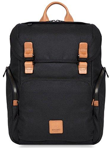 Knomo 159-401-WBC Livefree Rucksack mit gepolsterte Fächer für 15 Zoll Notebooks und Tablets, aus gewachstem Tuch aus pflanzlich gegerbtem Leder | Schwarz