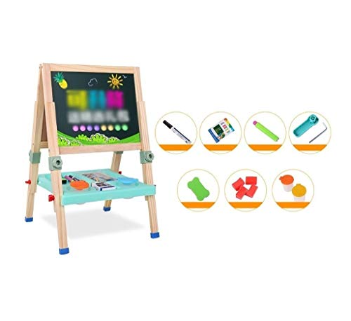 Adjustable Double-Sided Artboard, Wooden Art Easel, with Bonus Magnetics, Numbers, Paint Cups Best Gift for Kids Boys Girls