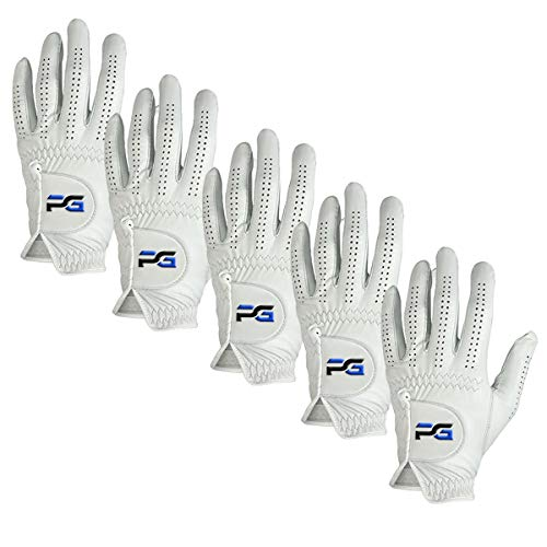 PG Golf Gloves (5 Pack) Cabretta Leather, Premium Quality Mens Golf Gloves, Left Hand Gloves for Right Handed Golfers