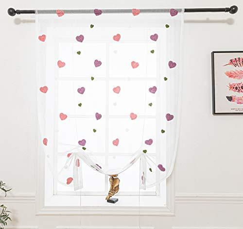 Lactraum Raffrollo Raffgardine Kinderzimmer Mädchen Rosa Bestickt Herz romatisch Voile 115 x 145cm (B x H)