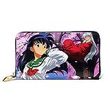 XCNGG Bolso de mano con cremallera de cuero japonés Anime Inuyasha, puede acomodar tarjetas de...