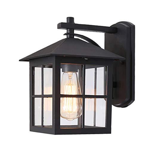 CHFQ Aplique de Pared Linterna Exterior, Lámpara Farol de Pared Exterior IP23 Impermeable Aluminio E27 Antigua Clásica Terraza Negro Lámpara de Pared para Entrada Garaje Patio Jardin Villa