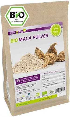 Maca Pulver 1kg - Bio Qualität - Maca-Wurzel - ganze Knolle gemahlen - 1000g im Zippbeutel - Premium Qualität