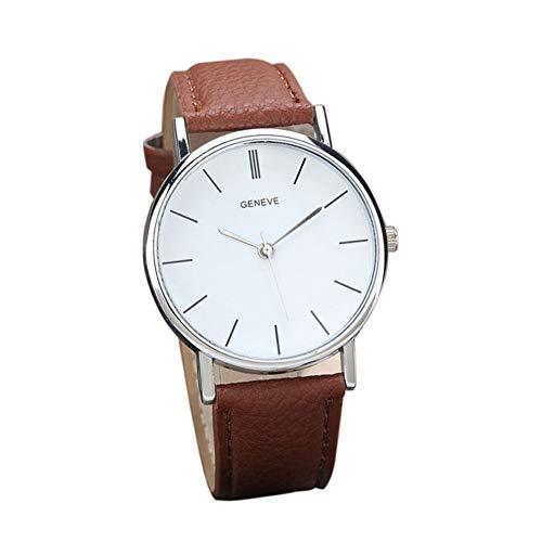 Ginebra Diamante Relojes Caliente Venta Reloj Resistente al Agua Mode Mujeres Retro Diseño Banda de Cuero Analog aleación Reloj de Pulsera de Cuarzo (marrón)