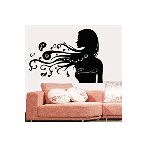 Muursticker Woondecoratie 79 Cm * 57 Cm Kappers Haarverzorgingsproducten Winkels Vrouwen Vrouwen Lang Haar Silhouet Stickers
