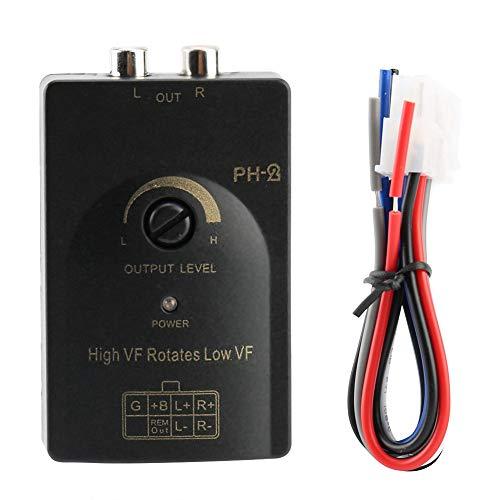 Auto Lautsprecher Auto Car Cinch Ausgang Stereo Lautsprecher High to Low Pegelwandler, Output Amplifier Converter Adapter Stereo Pegelwandler Pegelwandler Pegelausgang mit Verzögerungsfunktion