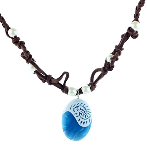 """Collar de la princesa de la película """"Vaiana"""" con colgante de color azul"""