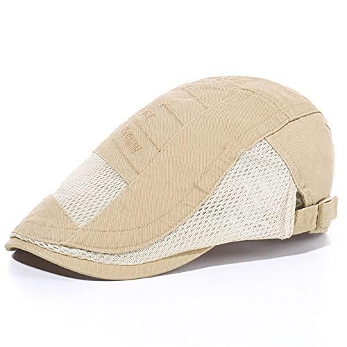 WQZYY&ASDCD Barett Cap Baskenmütze Schirmmütze Modische Netzmütze Herren Mesh Barett Atmungsaktive Schirmmütze Mittleren Und Alten Herren Und Damen Einfache Hüte-Beige_M (56-58Cm)
