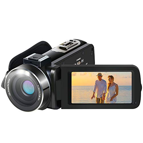 Cámara de Video, Aabeloy Youtube Vlogging Camera HD 1080P 24.0MP 3.0 Pulgadas LCD 270 Dradi Pantalla giratoria 16X Grabadora de Zoom Digital Videocámara con 2 baterías