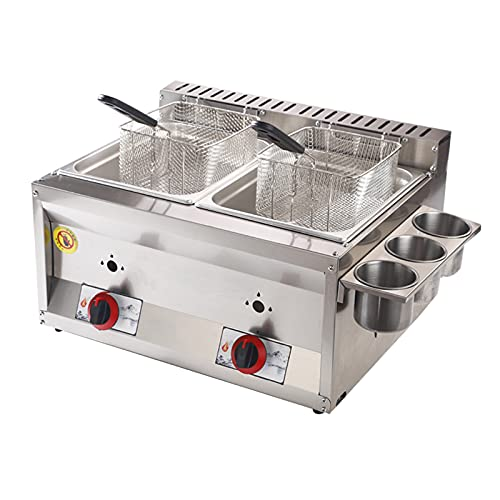 HOME UK Friggitrice Professionale Friggitrice a Gas di Grande capacità con vaschetta per condimento e 2 cestelli, Friggitrice in Acciaio Inossidabile Riscaldamento Rapid