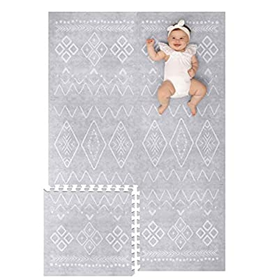 Lillefolk Modern Baby Play Mat - Soft, Thick, Non-Toxic Foam - 6ft x 4ft - Large Kids Floor Mat with Interlocking Puzzle Tiles for Crawling and Tummy Time - Grey Color