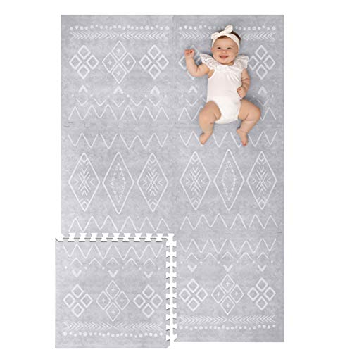 Lillefolk Stylish Foam Play Mat for Baby. Soft, Thick, Non-Toxic Playmat, Covers 6 ft x 4 ft, Interlocking Puzzle Tiles for Tummy Time and Crawling (Gray)