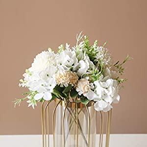 SHINE-CO LIGHTING Artificial Peony Fake Flowers Silk Hydrangea Bouquet Carnations Faux Flower for Home Office Wedding Decoration 2 Packs (White)