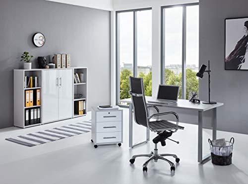 BMG-Moebel.de Büromöbel komplett Set Arbeitszimmer Office Edition Mini in Lichtgrau/Weiß Hochglanz (Set 2)