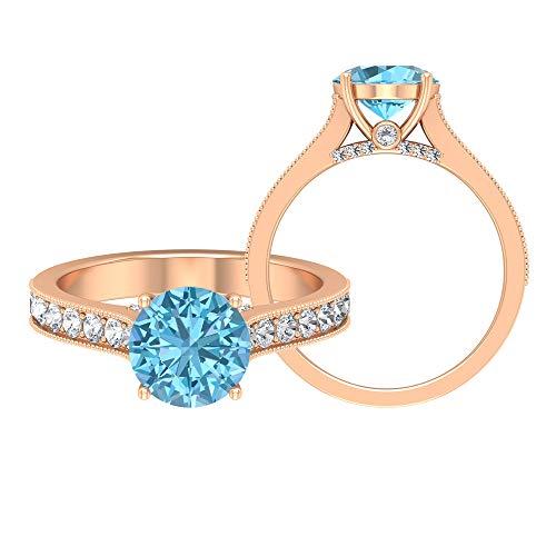 Anillo solitario de 8 mm aguamarina con piedras laterales, anillo de compromiso, anillo de compromiso, anillos de oro macizo para mujer, 10K Oro rosa, Size:EU 57