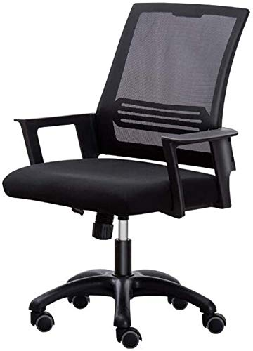 WYL Chairs Office Mesh, Ergonomic Wide Seat Executive Computer Desk Chair Rolling Swivel Lumbar Support Adjustable Height Office Chair (Size : Black)